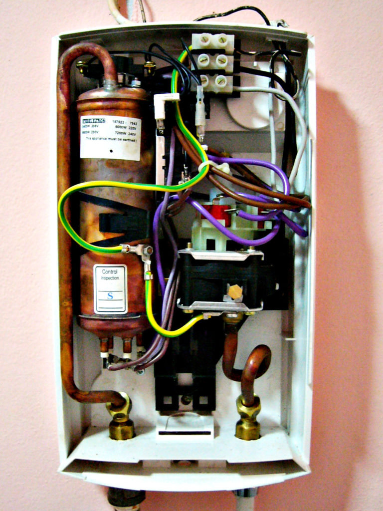 inside an electric tankless water heater