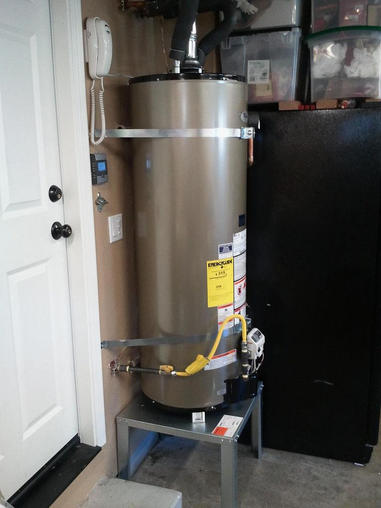 tank water heater in garage